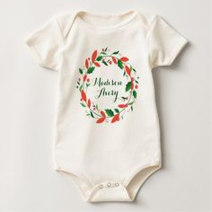 #Custom Christmas Wreath with Holly Berries Baby Bodysuit - #Xmas #ChristmasEve Christmas Eve #Christmas #merry #xmas #family #kids #gifts #holidays #Santa