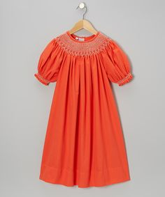 Take a look at this Orange Fall Season Bishop Dress - Infant, Toddler & Girls on zulily today!