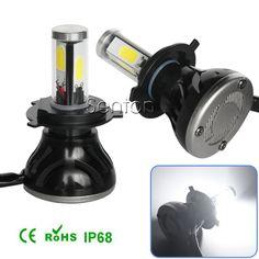 NEW! 2x LED Car Auto Headlight H4 H13 H7 H8/9/11 9005 9006 H1 H3 For BMW Benz Audi VW Ford Fog Headlamp DRL With Fan Play & Plug