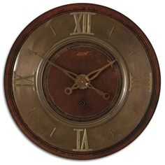 1896 mahogany and brass finish vintage inspired clock.  Lightly distressed mahogany finish with brass details.  Requires 1-C battery,  More information visit this site,  https://thebigclockstore.com/shop/1896-clock/