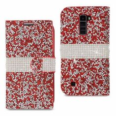 Reiko LG K10 Jewelry Rhinestone Wallet Case Red