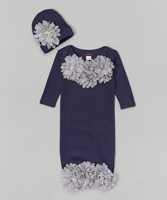 Look what I found on #zulily! MyLolliflops Navy & Gray Floral Gown & Beanie - Infant by MyLolliflops #zulilyfinds