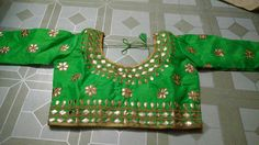 Blouse stuff: Golden Gota Patti work on Dhupian fabric, max one can alter according to size. Blouse Styles, Blouse Designs, Christmas Sweaters, Ready To Wear, Women Wear, Fabric, How To Wear, Blouses, Fashion