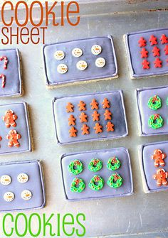 Another cookie-decorating-idea I adore… These cookie sheet cookies from Munchkin Munchies. Genius, in a self-reflective cookie kind of way. Christmas Sugar Cookies, Christmas Sweets, Christmas Baking, Christmas Ideas, Holiday Cookies, Santa Cookies, Holiday Treats, Christmas Stuff, Christmas Holiday