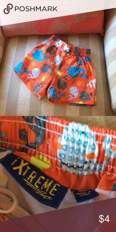 Toddler boys bathing suit Tag says 18 mo but my baby wore it at 12 mo. Bundle and save! Xtreme Swim Swim Trunks