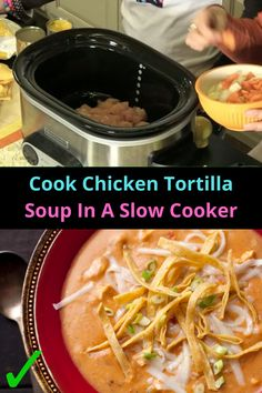 #Cook #Chicken #Tortilla #Soup #Slow #Cooker Dump Chicken, How To Cook Chicken, Chicken Snacks, Chicken Tortilla Soup, Slow Cooker, Veggies, Cooking Recipes, Meals, Healthy