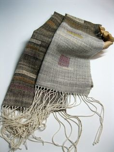 Handwoven Silk and Wool Scarf: Rule of Three Rule by mmhandwovens