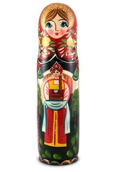 "Wine Bottle Holder Nesting Doll ""Welcome"" 0 5 Liters Painting on Wood Wine Bottle Holders, Bottle Painting, Arizona Tea, Drinking Tea, Painting On Wood, 3 D, Painted Bottles, Dolls, Pattern"