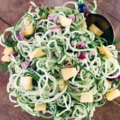 Cucumber Salad Recipe with Pineapple and Cilantro is a healthy salad made with spiralized cucumbers (or cut into chunks/thin slices), and fresh pineapple!