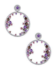14K White Gold Diamond & Assorted Gemstone Hoop Earrings - 0.43 ctw