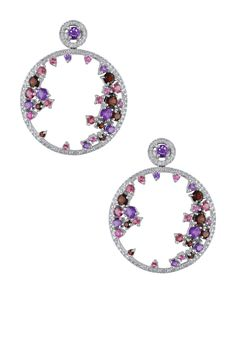 14K White Gold Diamond & Assorted Gemstone Hoop Earrings - 0.43 ctw
