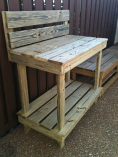 Amazing Garden Work Bench With High Back.