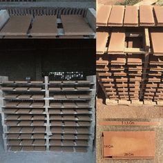 #Baldosas de #cerámica rústica (28x14x1.5) fabricadas en plantillas #construcción #rehabilitación #arquitectura / #Rajoles de #ceràmica rústica (28x14x1.5) fetes amb plantilles  #construcció #rehabilitació #arquitectura