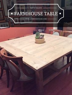 How to build a square farmhouse table. Free plans by Jen Woodhouse