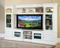 Parker House Entertainment Center Hartford - The Hartford Entertainment Wall Unit in a handsome solid poplar & veneer in Vintage White . Living Room Tv, Living At Home, Cottage Living, Living Room Entertainment Center, Entertainment Units, Parker House, Layout, Diys, New Homes