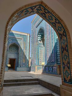 Shah-i-Zinda is the royal graveyard in Samarkand and features dozens of blue-green tiled buildings like these.