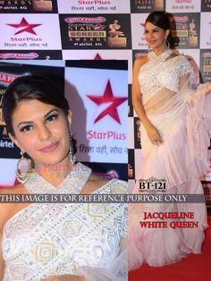 Jacqueline Fernandez Net Machine Work Off White Bollywood Designer Saree - B121