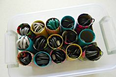 Use toilet paper tubes to organize unused cords.