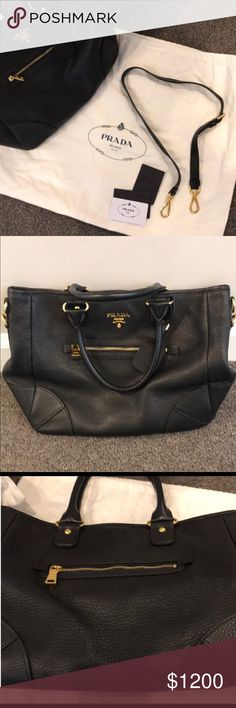"""Authentic PRADA Bag. Huge In Soft Black Leather. Beautiful (& barely used) Authentic PRADA bag in soft and supple black pebbled leather.   In perfect condition other than a few little scratches on the gold feet on the bottom.  Still has small manufacturing tag in inner pocket and as you can see from the pictures, also sewn together using Prada's slightly angled stitches (as opposed to straight like on the fakes). Has curved """"R"""" in Prada plaque. This is 100% authentic, no knock-offs here…"""