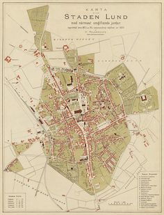 Vintage map of Lund (Sweden)