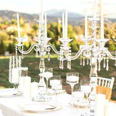 Gorgeous wedding centerpiece! #candelabras #eventlighting #weddingdecor