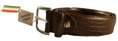 Reptile print Italian leather belt for men, Florentine leather
