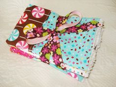 Baby Girl Burp Cloths - Set of Two - Teal - Pink - Lolli Pops - Chenille - Swirls on Etsy, $11.00