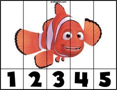 With this simple puzzle your child can build one of their favorite characters while being exposed to basic numbers. Autism Activities, Montessori Activities, Kindergarten Activities, Sorting Activities, Rainbow Fish Eyfs, Printable Puzzles, Free Printable, Printables, Free Preschool