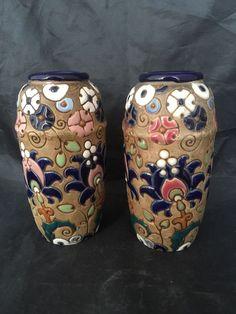 Amphora Austria Vases Art Pottery Pair Art Nouveau Arts & Crafts Movement