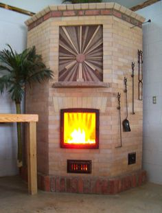 Cool wood detail on this masonry heater