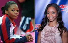 Gabby Douglas during the Olympics (left) and post-makeover (right) (Getty Images)