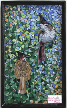 Pair of bulbuls : Stained glass mosaic