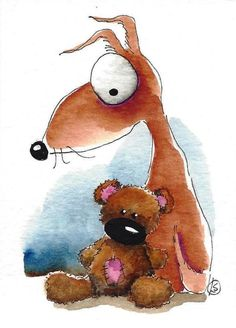 ACEO Original watercolor art painting whimsical dog brown teddy this old bear #IllustrationArt