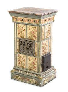 An Aesthetic Movement Ceramic Stove, Height 34 x width 19 1/8 x depth 15 3/