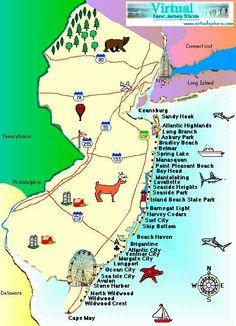 Jersey shore beach map