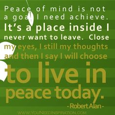 Peace of mind quote - live in peace today