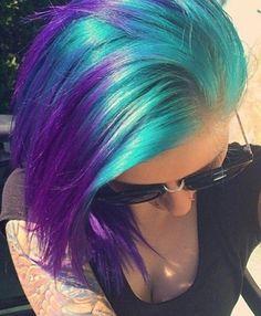 Bright turquoise blue green purple hair