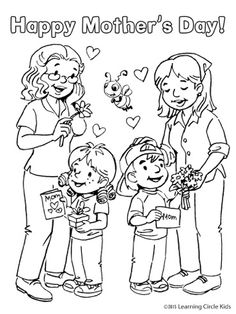 Darling Mother's Day coloring page or card for kids from Reader Bee! Diy Gifts For Mom, Mothers Day Crafts For Kids, Mothers Day Coloring Sheets, Bee Free, Human Drawing, Preschool Class, Mom Day, Free Printable Coloring Pages, Mom And Dad
