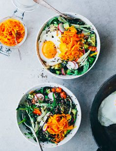 Egg, carrot, and kale salad