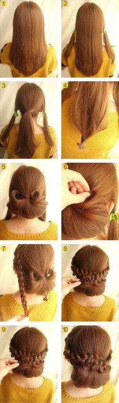 Chic Braided Bun. Here's a tutorial for a chic yet simple hairdo. It's ageless. It would look really cute for a flower girl or really respectful for the mother of the bride.