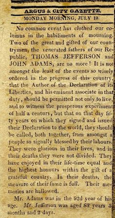 july 4 1826 newspaper
