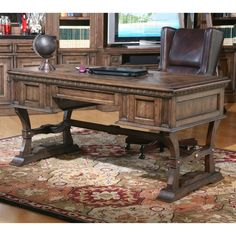 Parker House Aria Library Writing Desk - Antique Vintage Smoked Pecan - Pen your next great novel, sign an important piece of legislation, or just call the shots from the Parker House Aria Library Writing Desk - An...