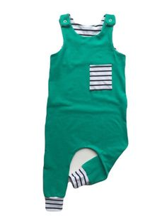 Boy Harem Romper / Green White Black Striped by whitewillowkids