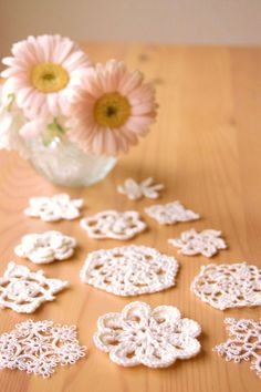 Flower and Snow flakes of a crochet