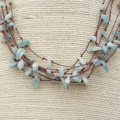 Aquamarine Multi Strand Necklace  Brown Hemp by ElectricPenguin, $20.00