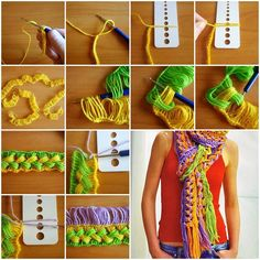 How to DIY Colorful Crochet Scarf with Ruler | www.FabArtDIY.com