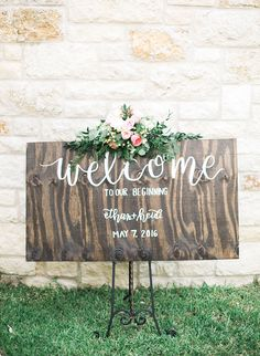 Wedding Welcome Sign | Classic Texas Wedding At Cathedral Oaks In Belton Texas | Photograph by Emilie Anne Photography | See the full story at http://storyboardwedding.com/classic-texas-wedding-cathedral-oaks-belton-texas/