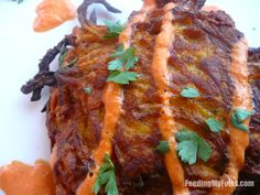 Sweet Potato Latkes with Red Pepper Ranch Dipping Sauce