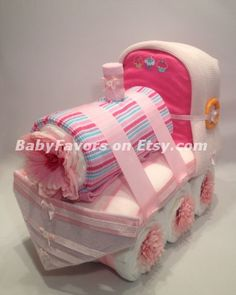 Adorable Train Diaper Cake for Boy / Girl / Neutral by BabyFavors