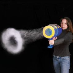 """Fog Ring Launcher: Blast fog rings as large as 20"""" in diameter up to 20' away with a non-toxic water based solution. $39.95."""